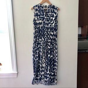 Vince Silk Dye Maxi Dress Tie Waist Flattering
